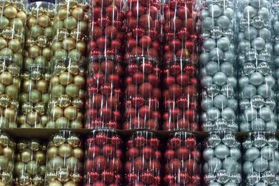 Gold, blue and red large baubles at New Covent Garden Flower Market - Christmas 2015