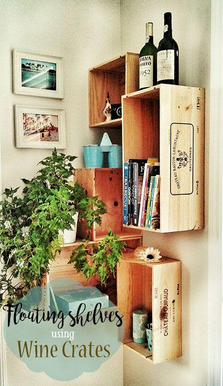 Diy Floating Shelves Using Wine Crates Home Decor Affordable
