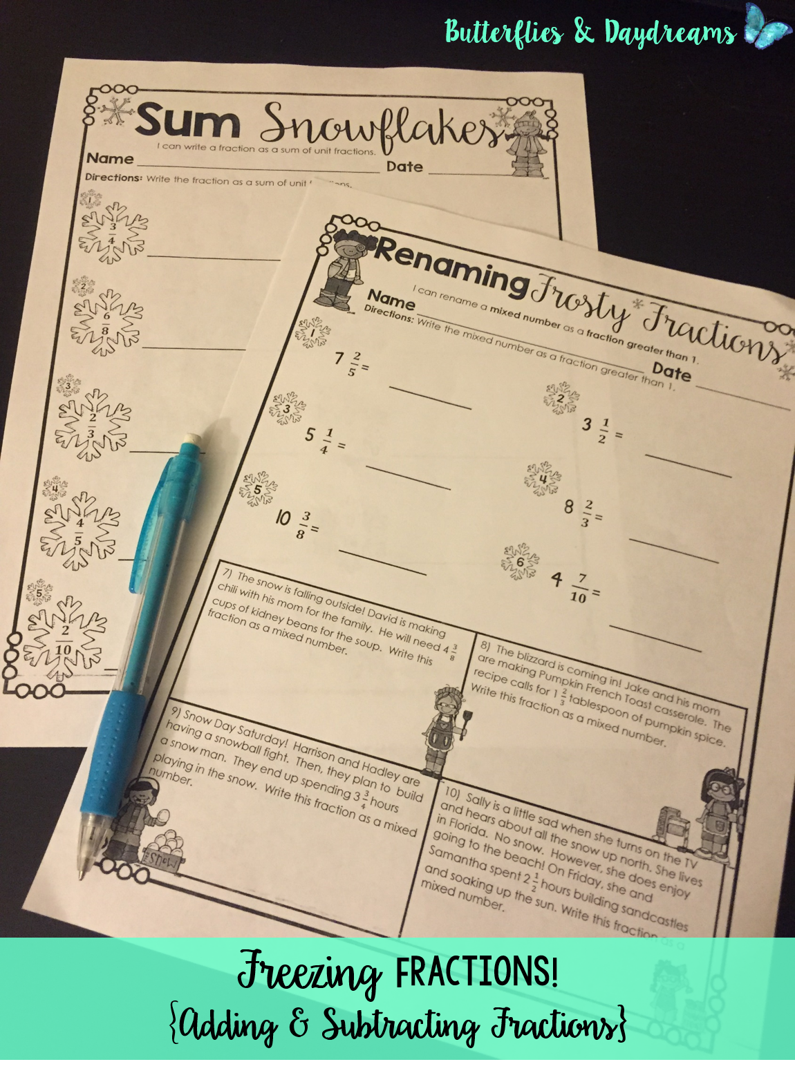 Adding Subtracting Fractions Freezing Fractions Printable Pages Math Journal Problems 4th Grade Common Core Al Free Math Lessons Learning Math Fractions [ 1566 x 1150 Pixel ]