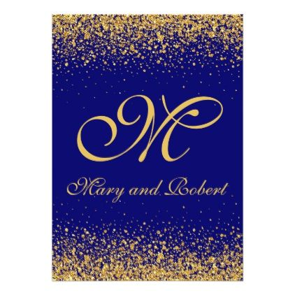 Elegant Gold Confetti On A Royal Blue Background Invitation In 2018