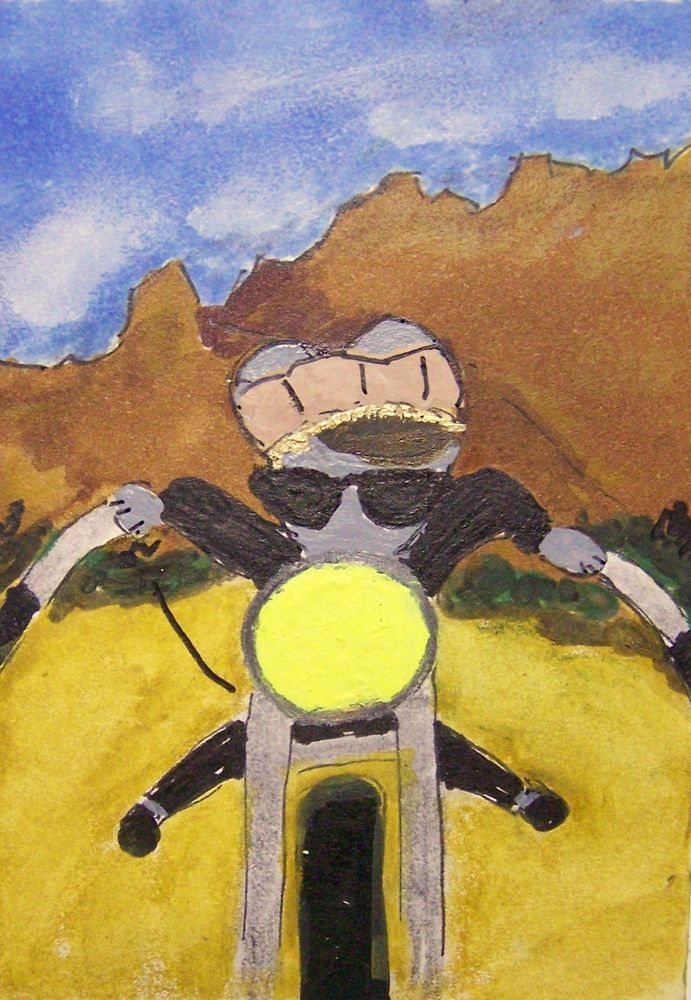 ACEO ATC Johnny A Wild One mouse motorcycle original signed whimsical cartoon #Miniature