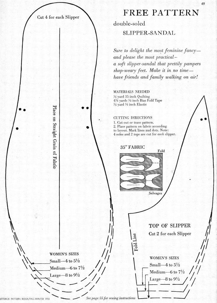 Free Pattern for Double-Soled Slipper-Sandal! 1955