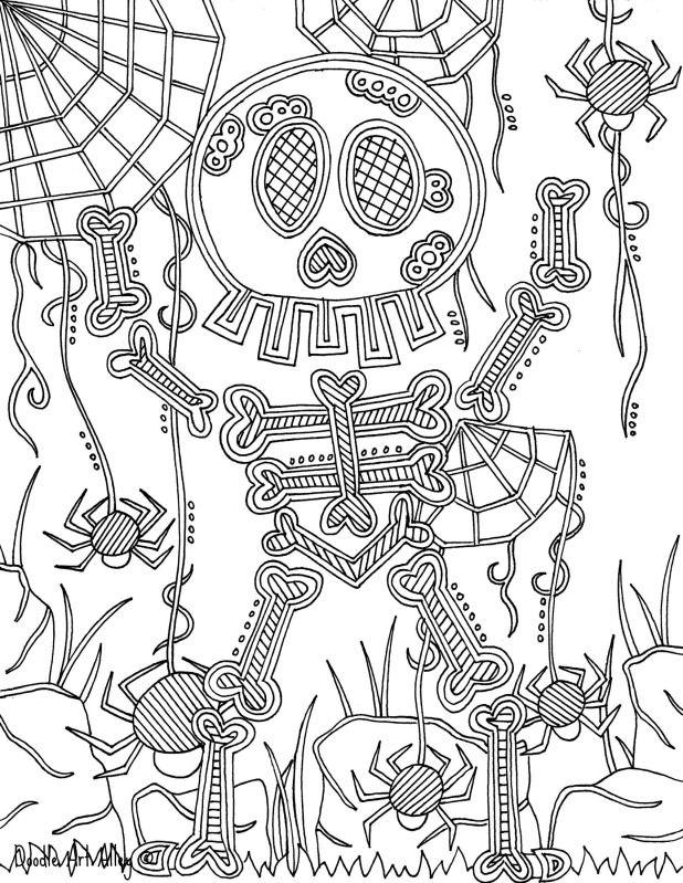 Skeleton Coloring Page Dias De Los Muertos Crafty Pinterest