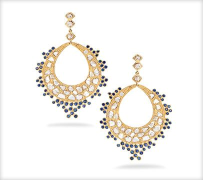 COOMI - Collection - 20k earrings with sapphires and rose cut diamonds