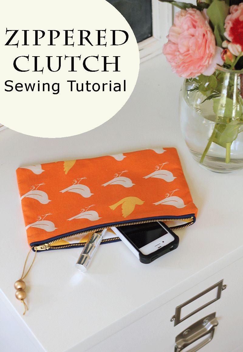 Zippered Clutch Sewing Tutorial Diy clutch, Easy sewing