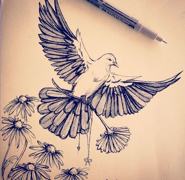 2 Birds Holding Kids Birth Flower Dove Tattoos Dove