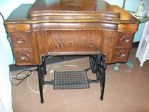 Antique white sewing machine with cabinet | Designed for Change ...