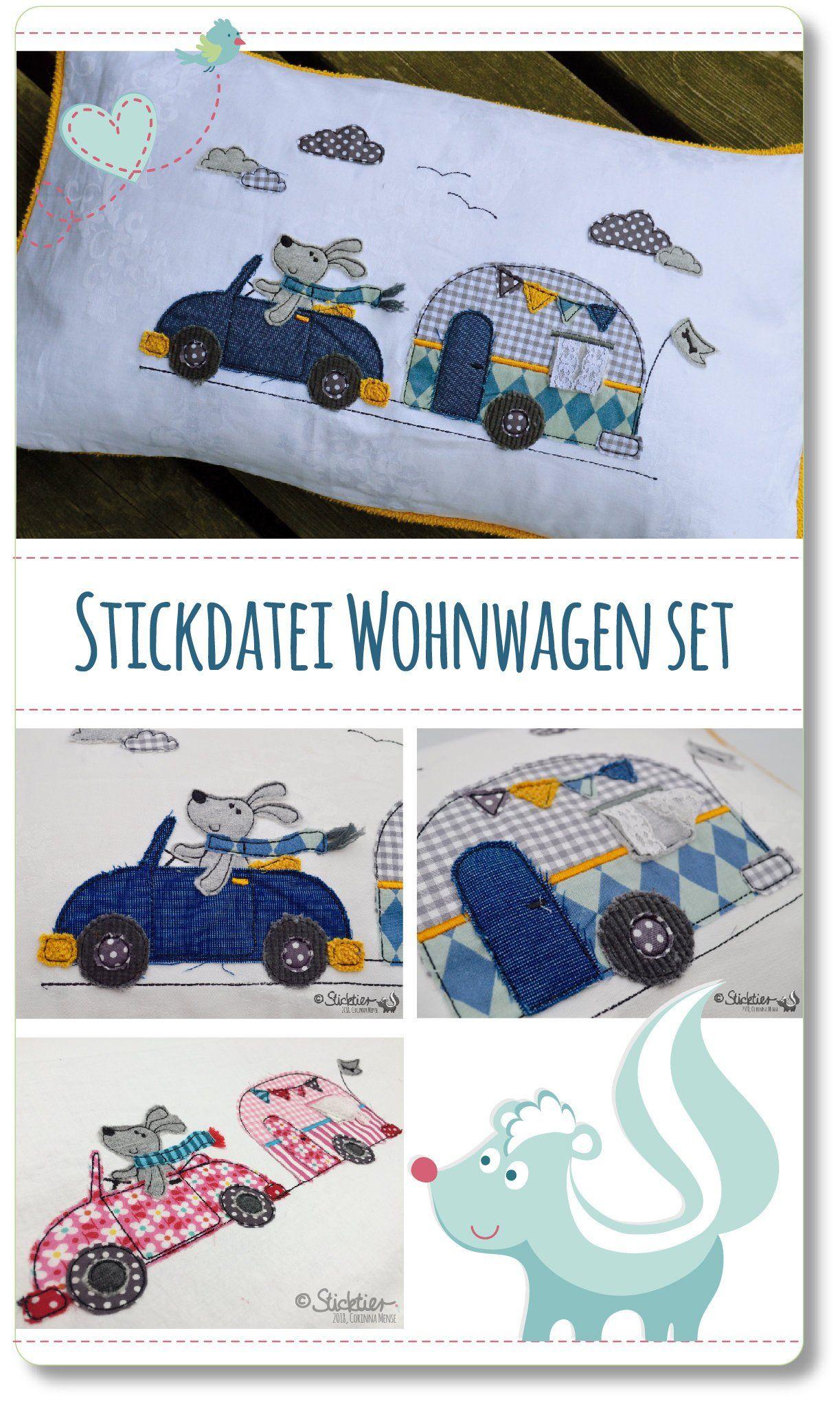stickdatei auto mit wohnwagen 13x18 stickrahmen download