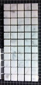 "Olympia Tile. Bianca Carrara polished. stacked mosaic 5/8"" - shower floor. Bianco Carrara Polished  // Code:  GM.B.CARRAR.5/8X5/8 #olympiatile"
