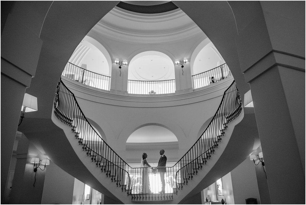 Anassa Hotel Cyprus bride and groom in symmetrical interior