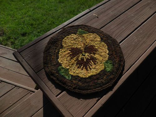 My Golden Pansy Rug w/crocheted edge.  Hooked on Primitives  http://www.ebay.com/itm/121141645227?ssPageName=STRK:MESELX:IT&_trksid=p3984.m1558.l2649