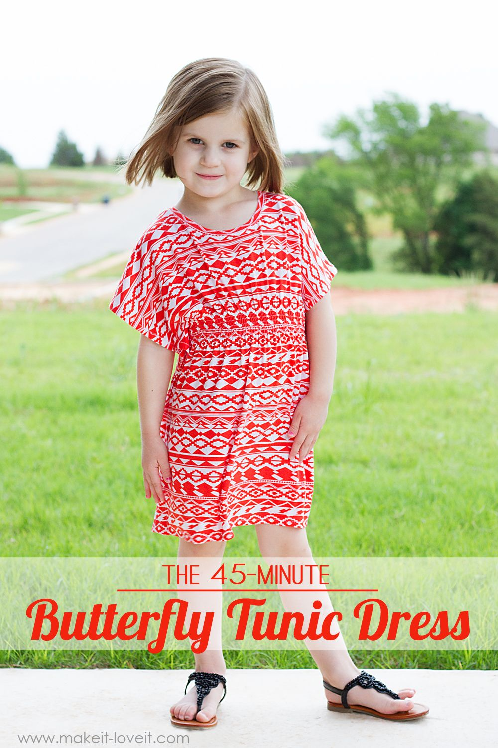 The 45-minute Butterfly Sleeve Tunic Dress (...for girls and women BOTH) | via Make It and Love It
