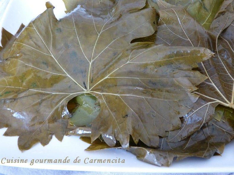 Feuille de vigne farcie à la grec (ou Dolmas)