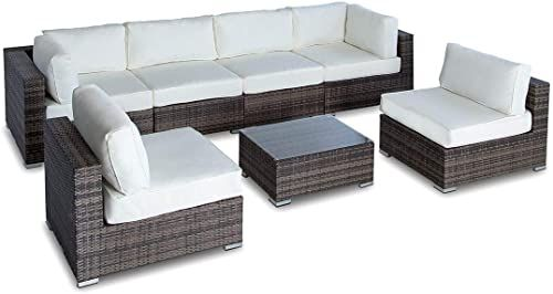 Buy Outdoor Patio Furniture Sofa Modern All Weather Wicker Sectional 7pc Rattan Resin Couch Set online - Prettytrendyfashion