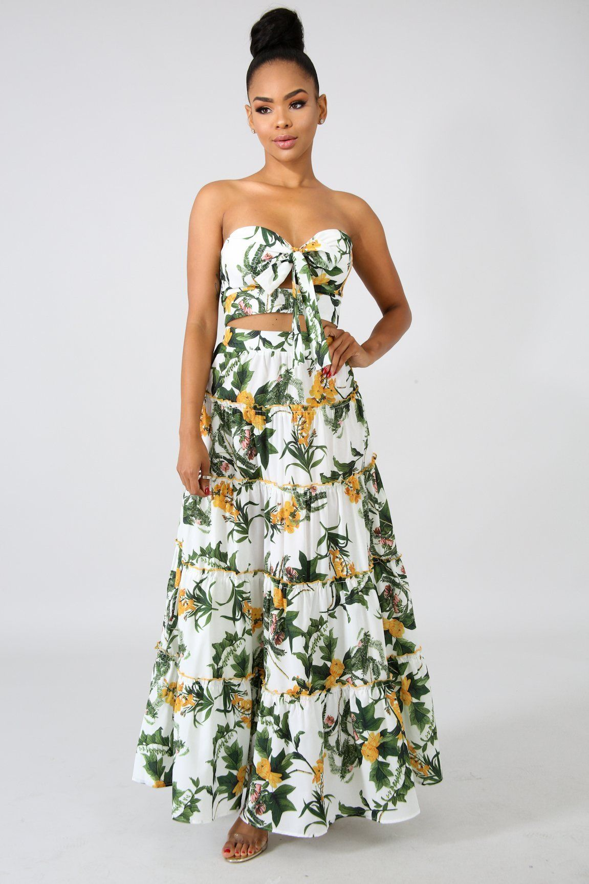 82bd057bf1 GARDEN FLORAL CROP TOP & PLEATED MAXI SKIRT SET - WHITE | Products ...