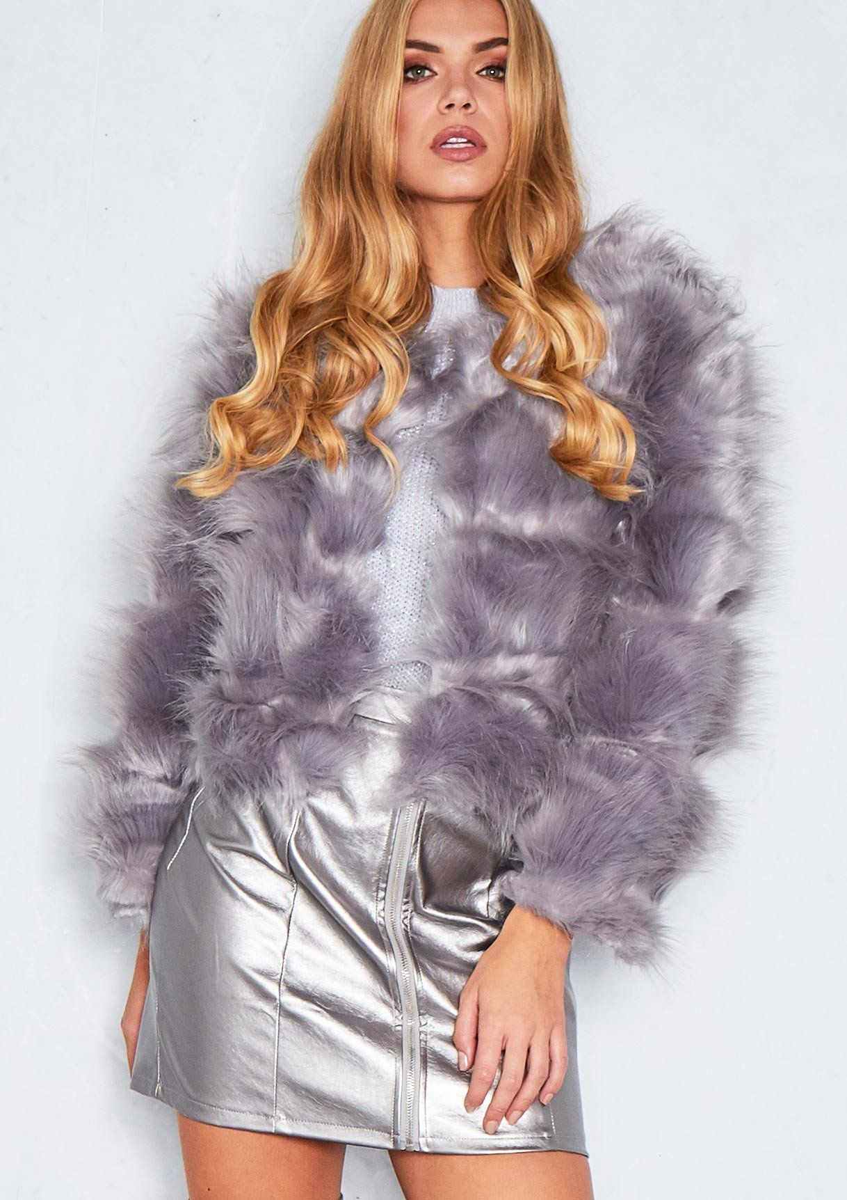 24aaa7a3477 Aniyah Grey Cropped Shaggy Faux Fur Coat | Irina v. Ray STYLE | Fur ...
