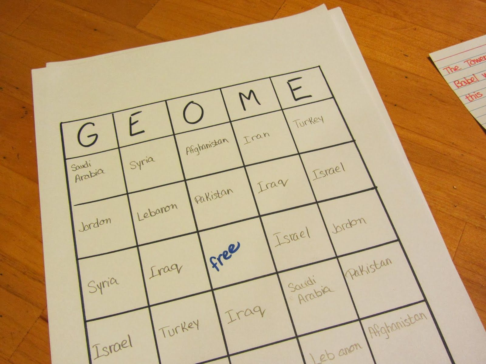 Free Homeschool Geography Worksheet