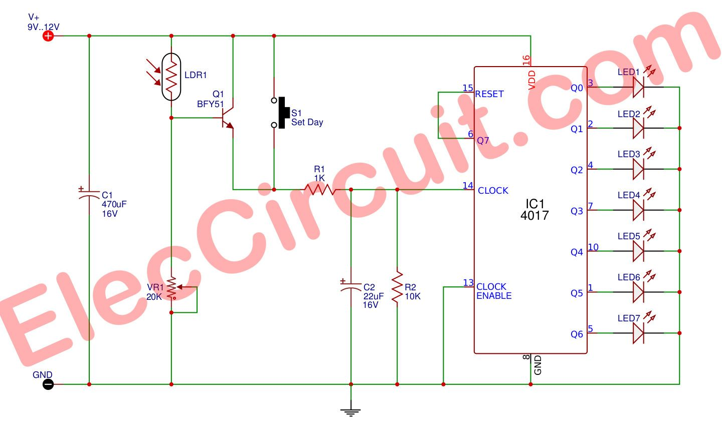 The Automatically Day indicator circuit Ldr, Circuit