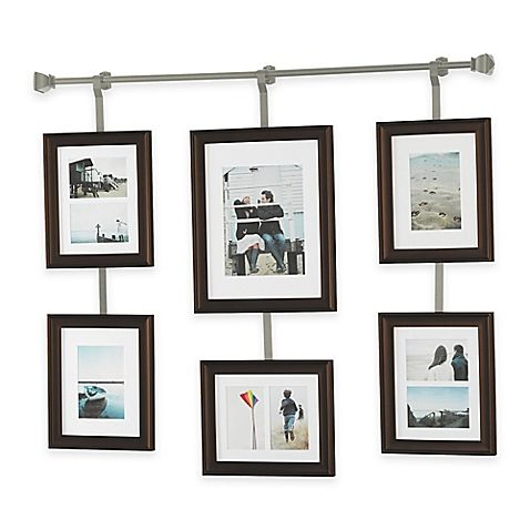Create a stunning display of a group of photos with this Rod and Frame Set by Wall Solutions. This set makes it simple to design an impressive arrangement and also includes a template for easy hanging. Hangs vertically or horizontally and holds 9 photos.