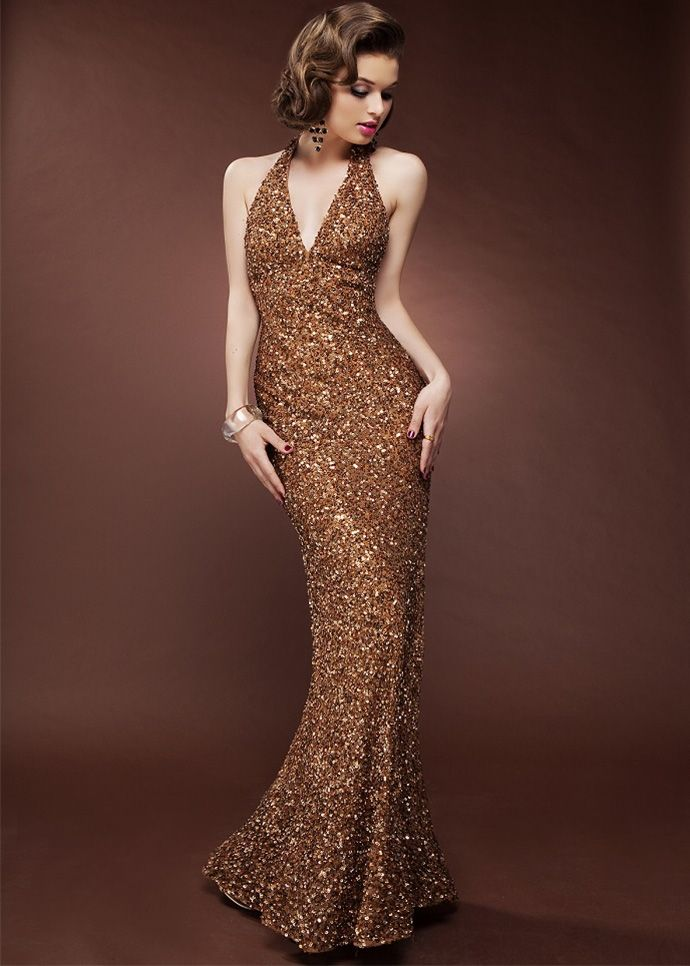 Scala 47630 - Cinnamon Sequin Halter Prom Dress  ed02d50710de