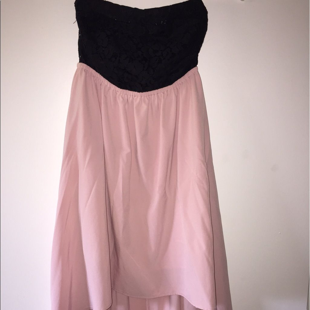 Black u pink strapless high low dress high low and products