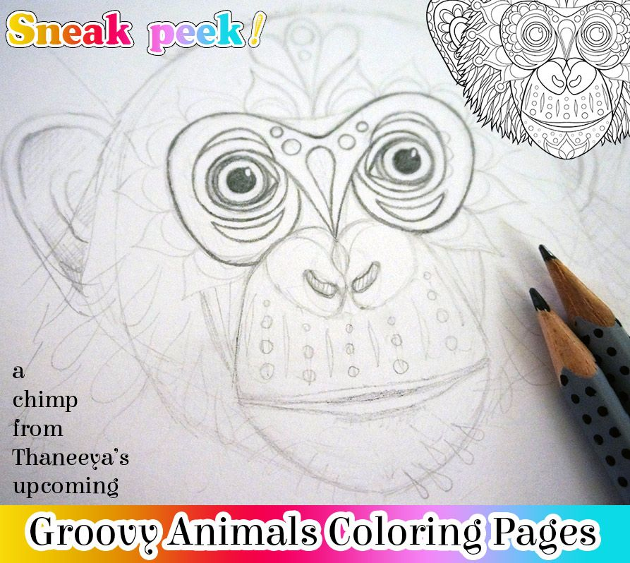 sketch of a chimp for thaneeya 39 s upcoming groovy animals coloring pages coloring pages by. Black Bedroom Furniture Sets. Home Design Ideas
