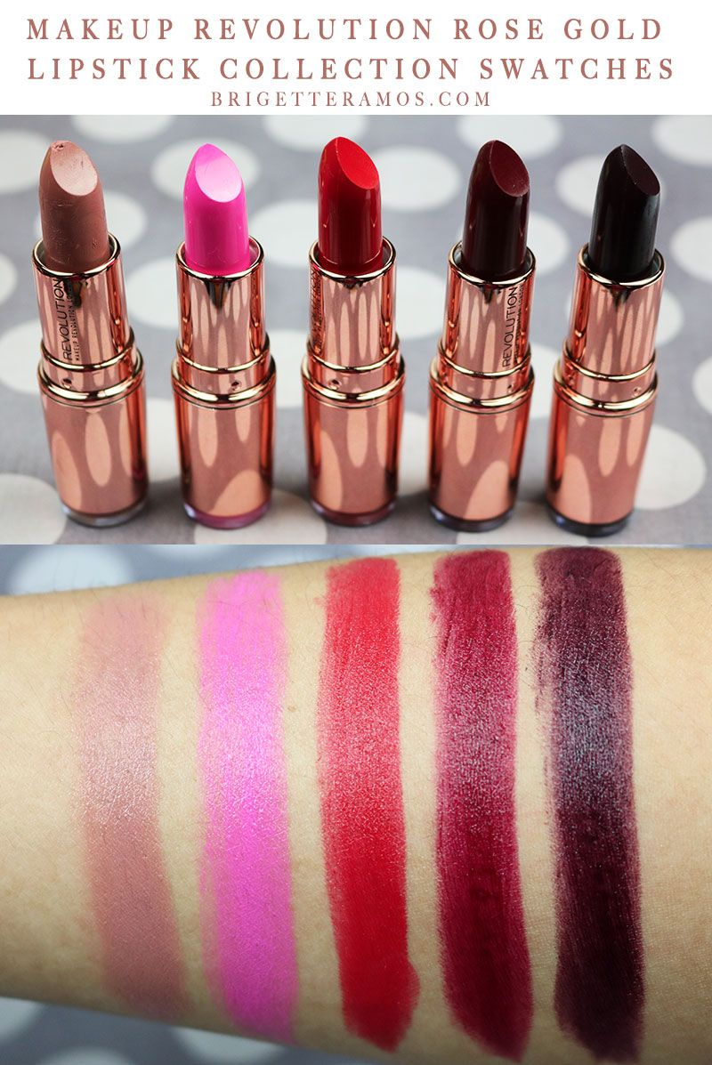 MAKEUP REVOLUTION ROSE GOLD LIPSTICK COLLECTION SWATCHES