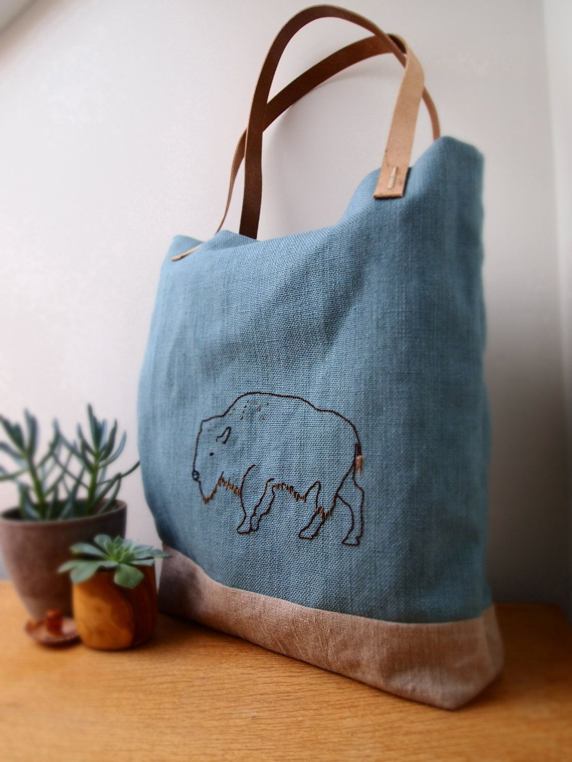 Bison Buffalo hand embroidered bag by JeanieDeans on Etsy