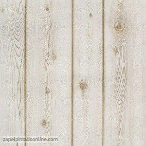 Papel pintado madera blanca efecto decapado hab infantil - Papel imitacion madera ...