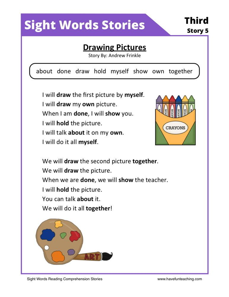 This Reading Comprehension Worksheet - Drawing Pictures is for ...