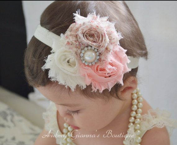 Baby Headband Shabby chic Toddler Headband Newborn by AubreyGianna, $8.99 #babyhairaccessories