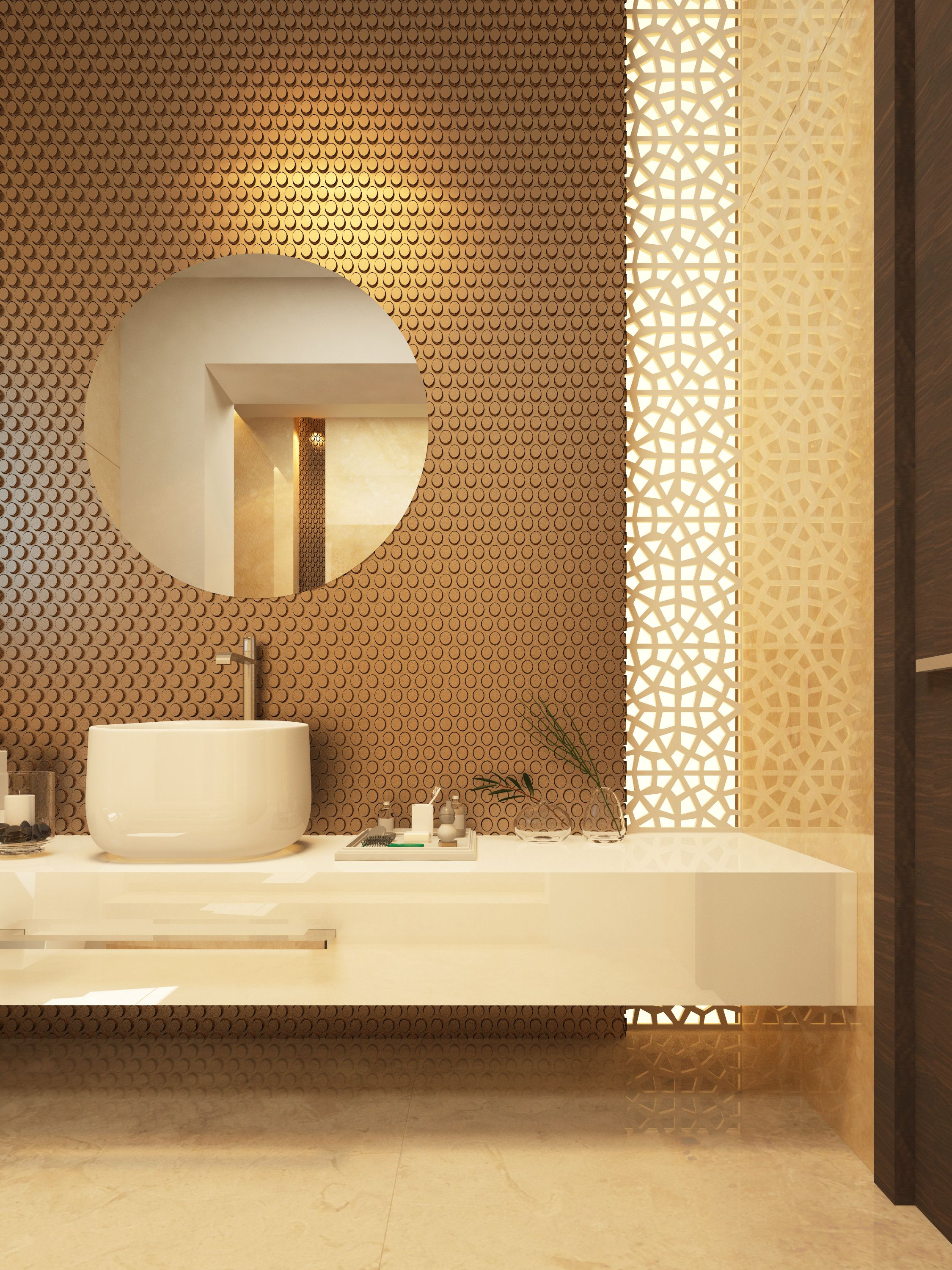 Dimensional wall tile with vertical laser cut screen | Bathrooms ...