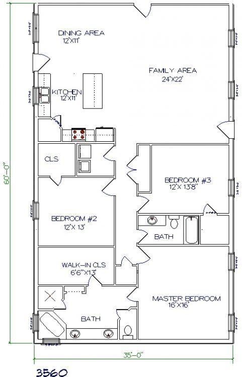 35x60 barndominium floor plans by Henry Abraham plans