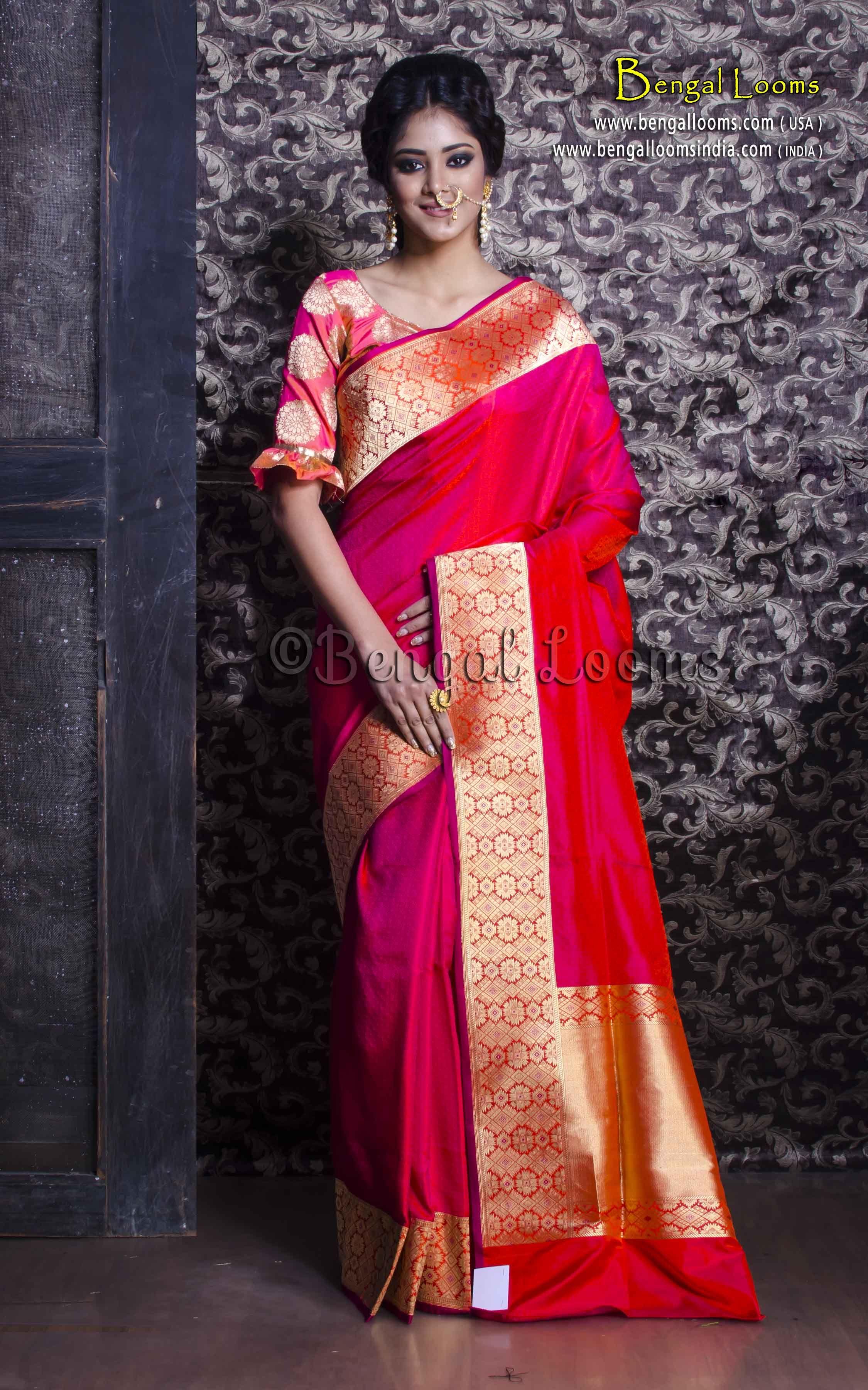 1088e2ef44c Exclusive Pure Handloom Tanchui Banarasi Saree in Rani and Gold ...