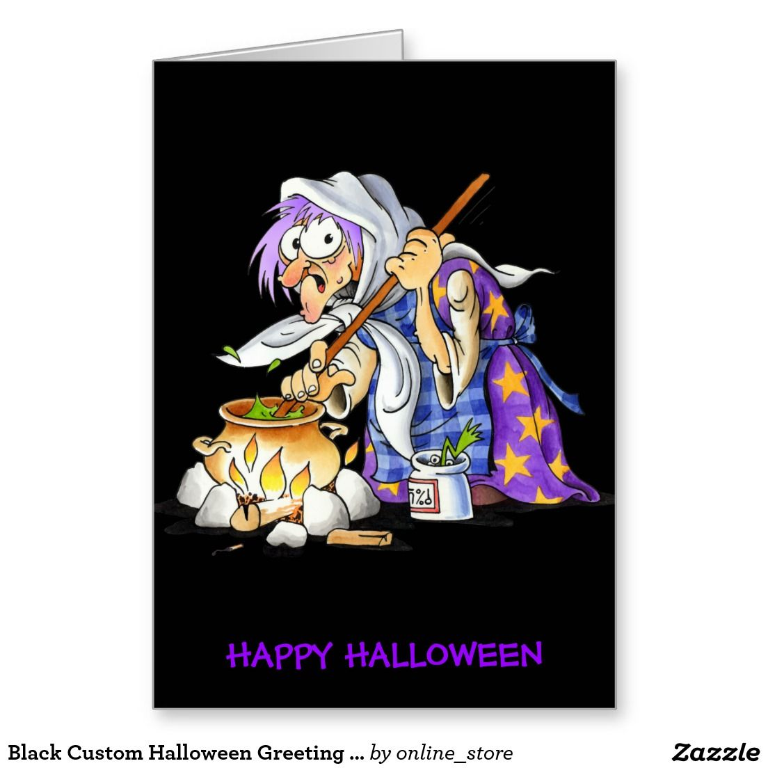 Black Custom Halloween Greeting Card Witch
