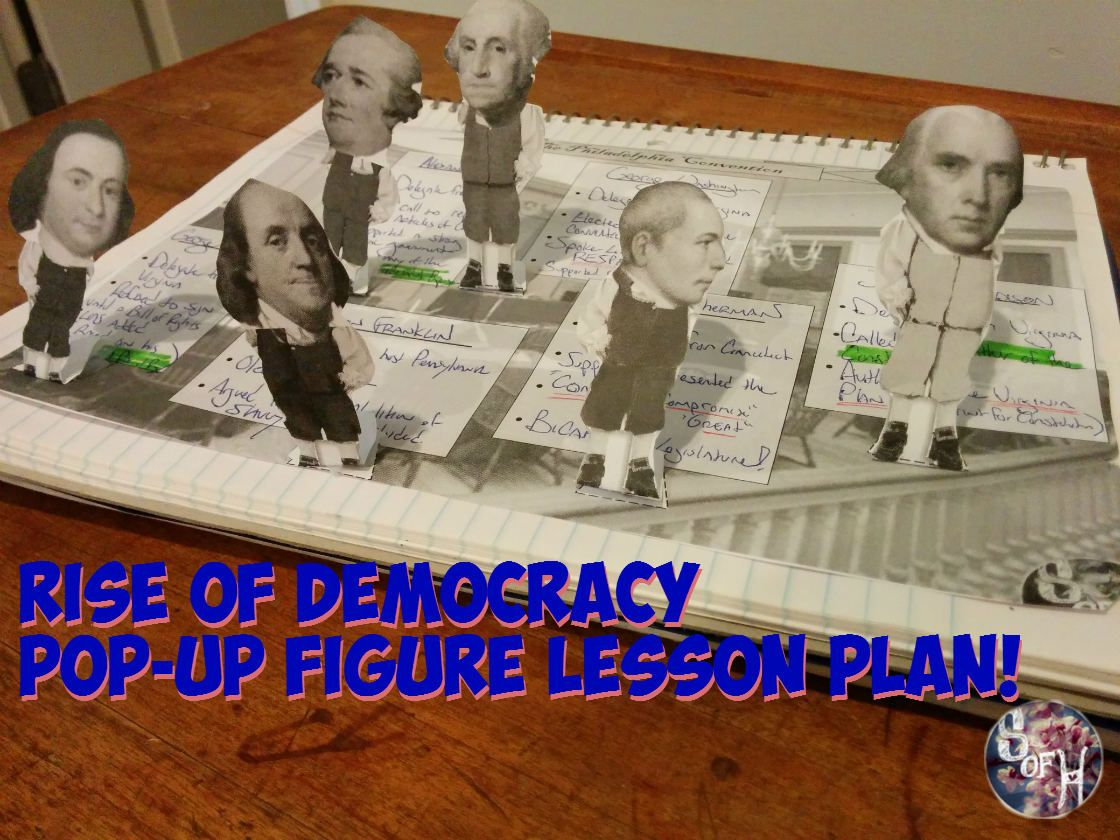 "Photo of Constitutional Convention Pop-Up Figures ""Rise of Democracy"" Lesson"