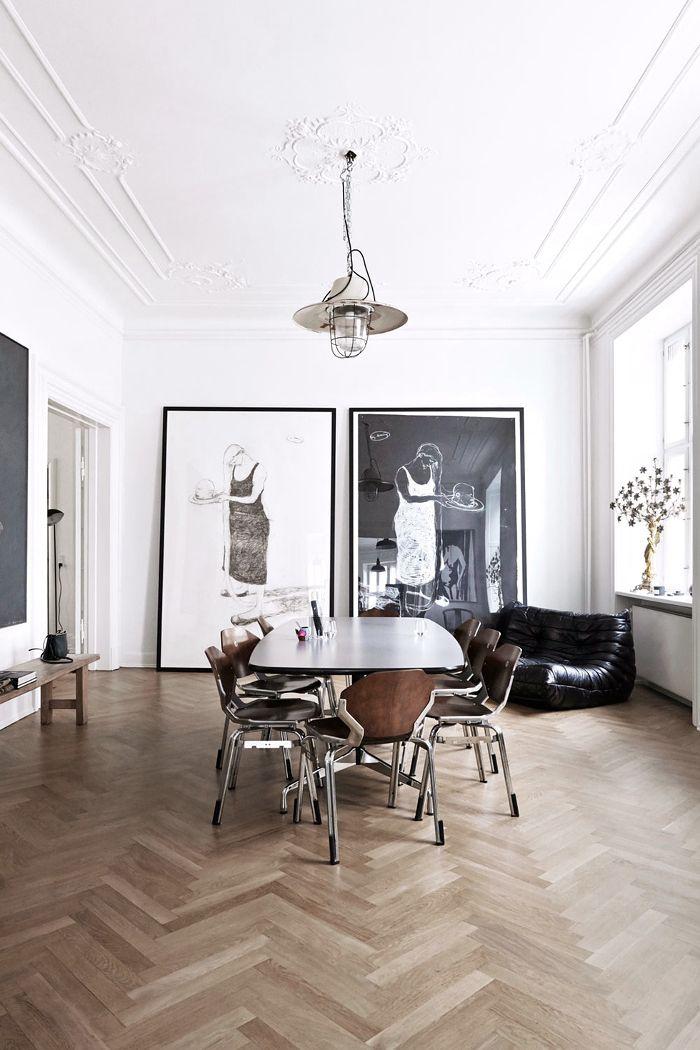 Herringbone Floor Stucco Ceiling Huge Framed Art In The Dining