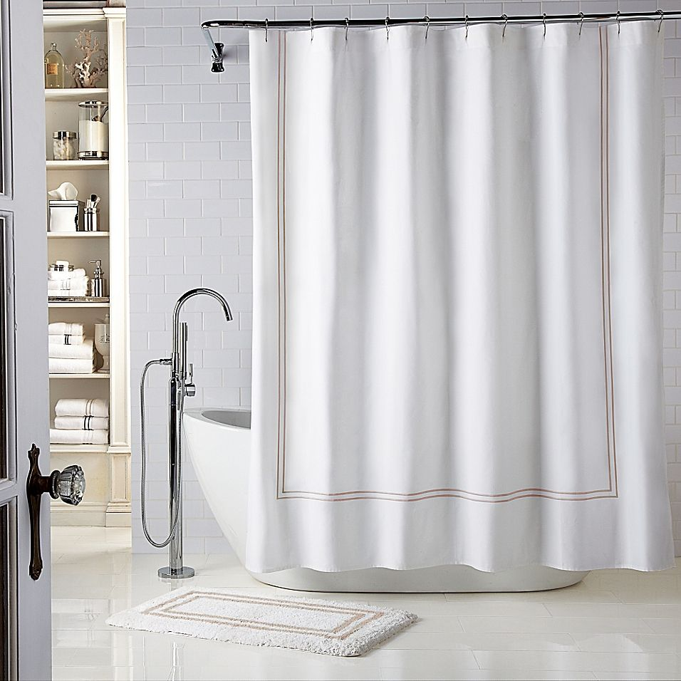 Wamsutta Baratta Stitch 72 X 72 Shower Curtain In White Taupe Fabric Shower Curtains 96 Inch Shower Curtain Small Bathroom With Shower