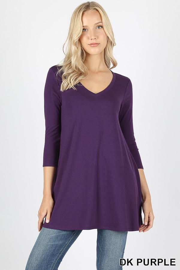 b374ee24d4e V - NECK FLARED TOP WITH SIDE POCKETS - Plus Size - 3/4 Sleeves - Dark  Purple