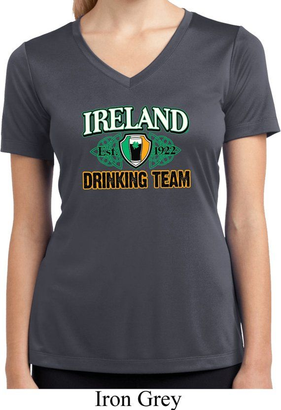 ea3db8654 Ladies St Patrick's Day Shirt Ireland EST 1922 Drinking Team Moisture  Wicking V-neck Shirt XIT-11353