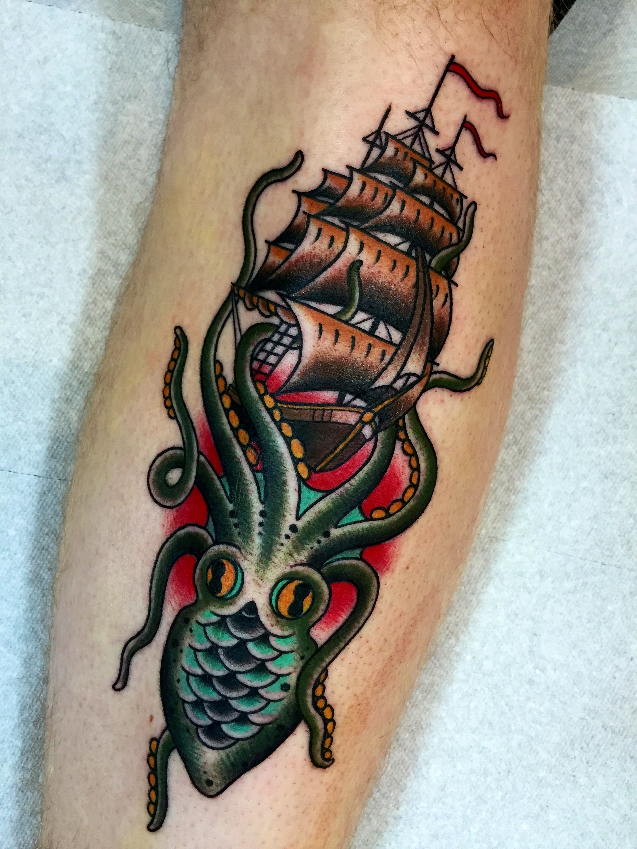 Octopous Tattoo Traditional: Tattoo By Aaron Egging