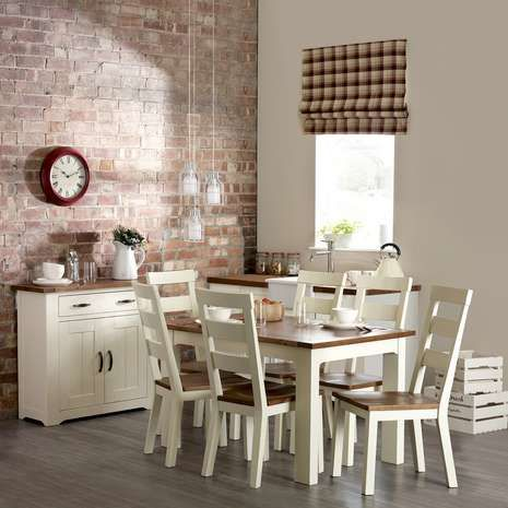 Made From Solid Pine Wood With A Cream Painted Finish This Easy To Assemble Loxley Dining Table Features Surface Visible Knots And Burs Can