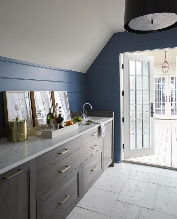 Best Cottage Wet Bar Boasts Blue Shiplap Walls Lined With Gray 640 x 480
