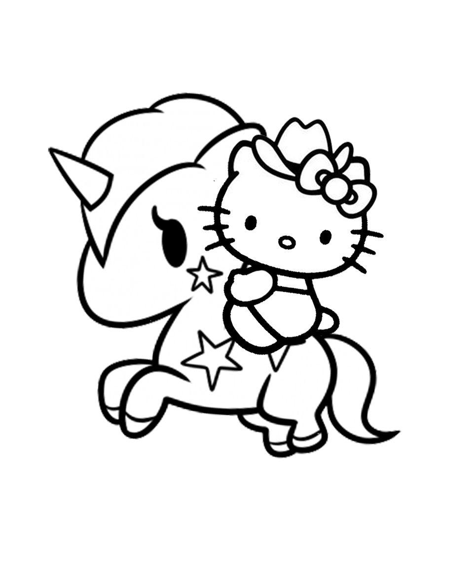 Hello Kitty Cowgirl Unicorn Hello Kitty Coloring Hello Kitty Colouring Pages Hello Kitty Drawing