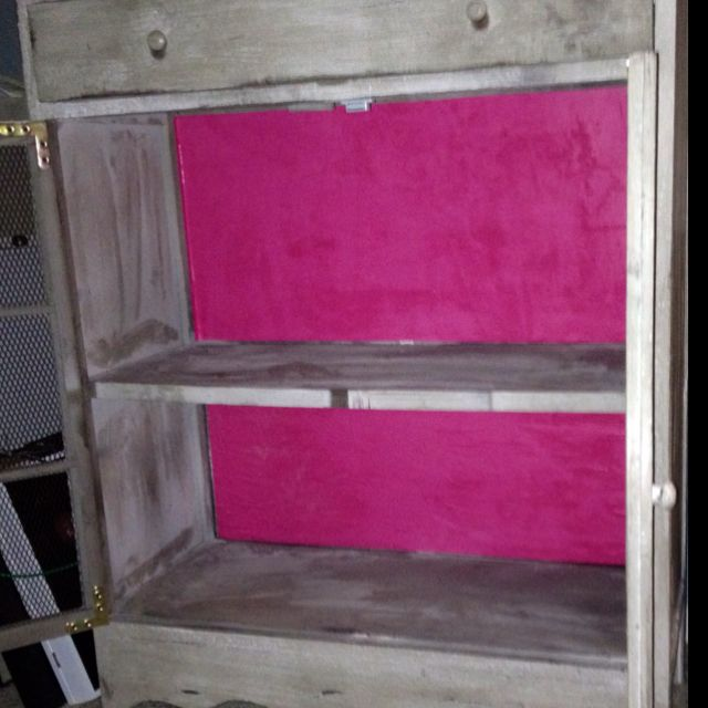 Finals makes me crafty. Pink backing to my dresser/cabinet/media thing.