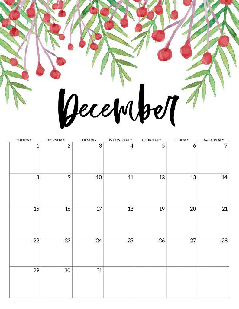 Free Printable Calendar 2019 - Floral | Print calendar ...