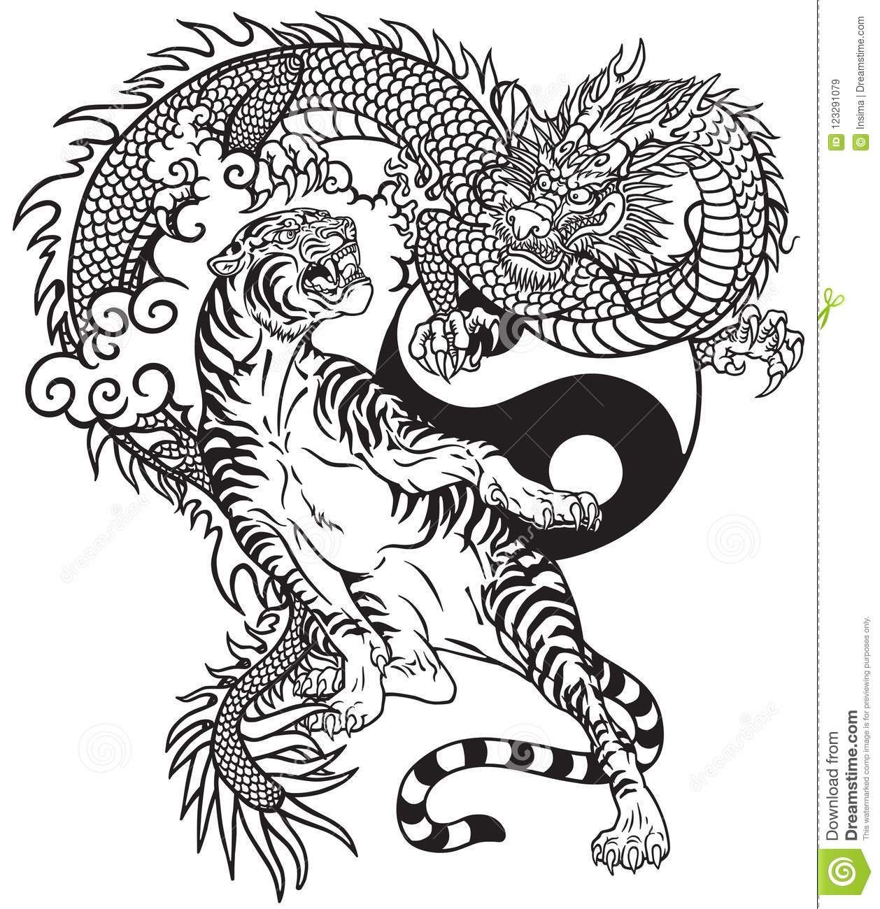 , Chinese Dragon Versus Tiger Black And White Tattoo Stock Vector – Illustration of asia, fantasy: 123291079, My Tattoo Blog 2020, My Tattoo Blog 2020