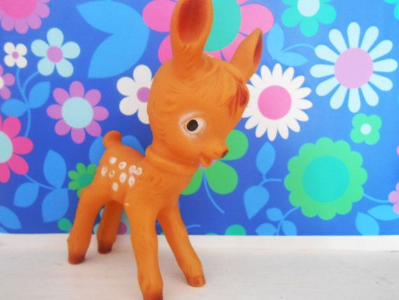 Vintage Squeezy 1950's SCHILDKRÖT Rubber Bambi Deer- Fawn Baby Toy 1960's-  German Squeak Toy- Retro New Baby Gift- Collectable