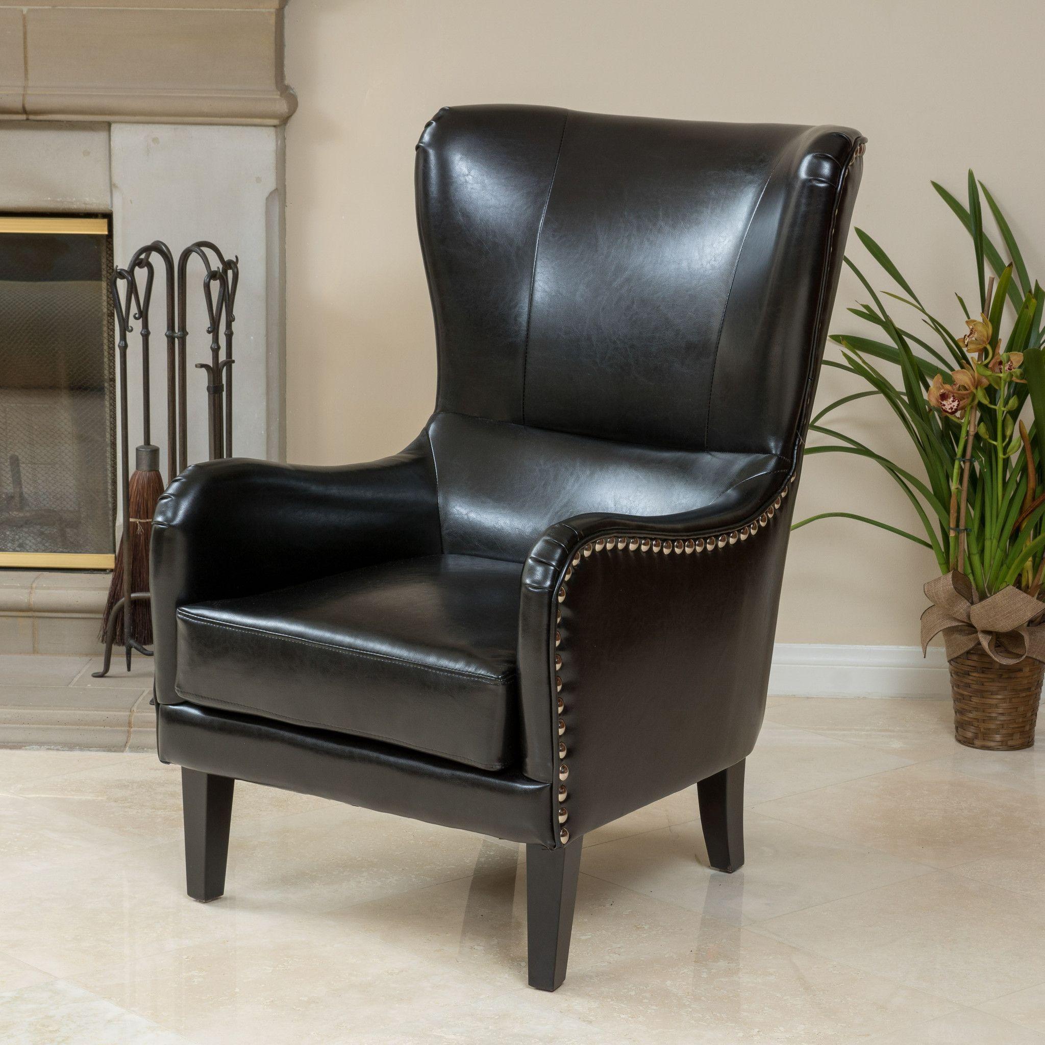 Alonzo Black Leather Studded Club Chair