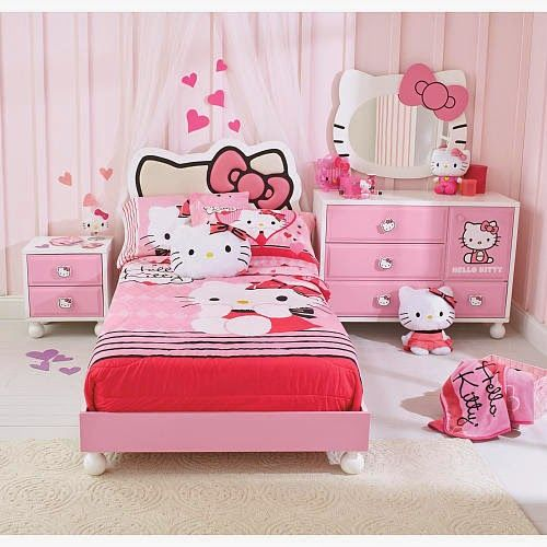 desain kamar tidur hello kittty untuk anak perempuan lucu